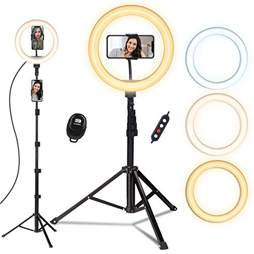 Ring Light with Tripod Stand, Doosl 10'' Ring Light with 63in Stand & Phone Holder - Dimmable Beauty Ringlight for Live Stream/Makeup/YouTube Video with iPhone Xs Max XR Android