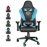 Dualthunder Gaming Chairs, Gaming Chairs for Adults Teens Gamer, Ergonomic Video Game Chairs High Back Computer Chairs, Racing Reclining Office Chairs Adjustable Headrest and Lumbar Support, Blue