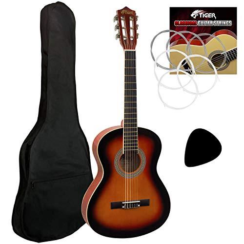 Tiger - Guitarra clásica, 3/4, para principiantes, acabado «Sunburst»