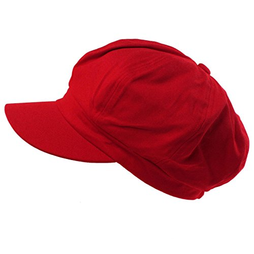 Summer 100% Cotton Plain Blank 8 Panel Newsboy Gatsby Apple Cabbie Cap Hat Red