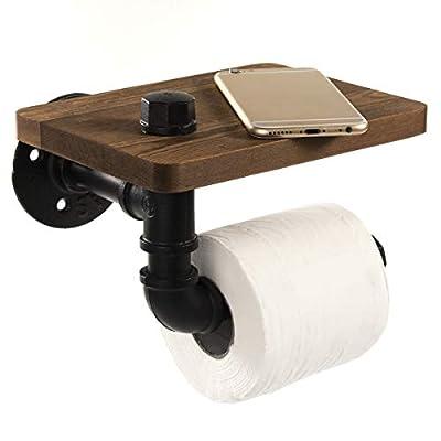 Prodigen Industrial Toilet Paper Holder with Rustic Wooden Shelf, Pipe Toilet Paper Holder Vintage Iron Pipe Hardware for Bathroom, Washroom-Brown