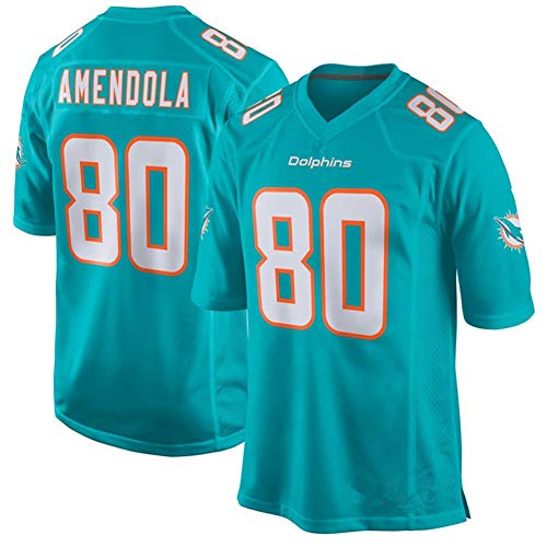 Danny Amendola Miami Dolphins 80# American Football Trikot, Rugby Trikot Rugby Shirt Sport Kurzarm T-Shirt mit V-Ausschnitt Retro Trikot-Green-S(170~175CM)