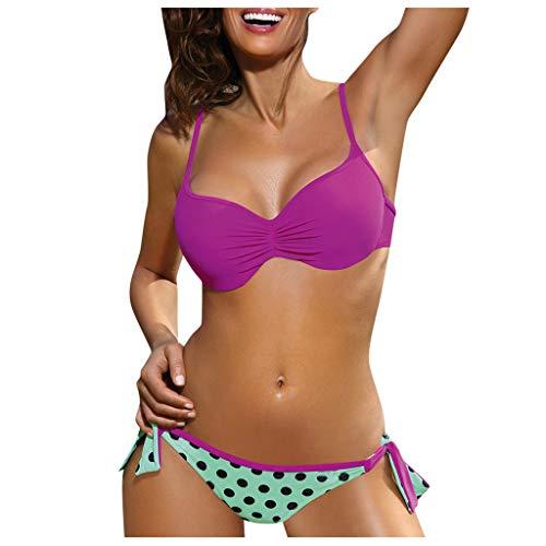 HCFKJ Damen Geteilte Spule Boob Wrap Bikini Set Tankini Zweiteilige Badeanzug Strandkleidung Badebekleidung