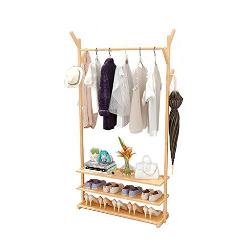 ZWD Entree Kapstok, Multi-layer Vertical schoenenrek Staande Rekstok kleding spoor Creativiteit Bamboo maken Droogrek Jurken en hoeden Planken (Color : A, Size : 175 * 50CM)