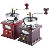 Molinillo de café de 2 Colores Molinillo de café de Mano multipropósito Seguro de Madera y Acero Inoxidable para Cocina casera(Imitación Caoba)