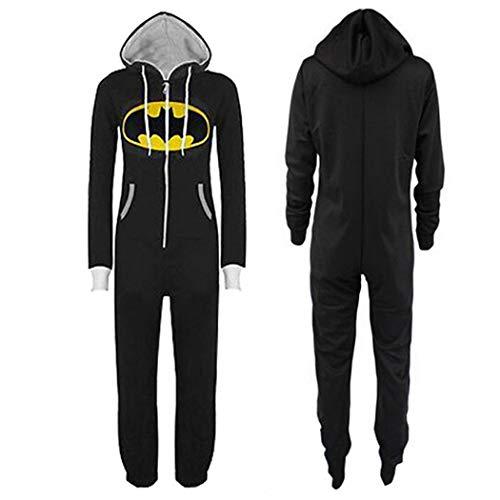 Grenouillères Jumpsuit Hommes Femmes Unisexe Adulte Batman Superman Jumpsuit All in One Piece Onesie Pyjama Imprimer Hooded Zip Avant Bleu (Color : Black Bat, Size : L)