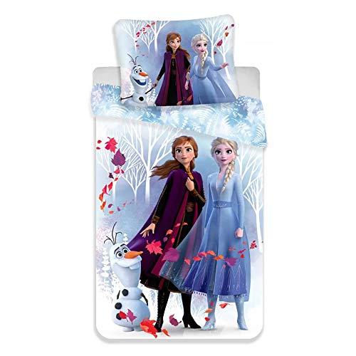 Disney Frozen 2 Bettwäsche Eiskönigin Anne ELSA Olaf Snowflake Kopfkissenbezug Bettdecke für 135x200 cm Set