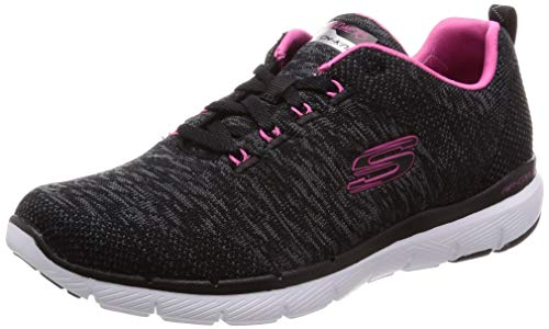 Skechers Women's Flex Appeal 3.0 Trainers, Black (Black Knit Mesh/Hot Pink Trim Bkhp), 5 UK, 38 EU