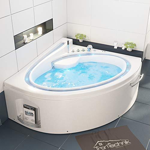 Tronitechnik Whirlpool Badewanne Hydra 165cm x 148cm inkl. Heizung, Hydromassage, Bachlauf und Farblichtherapie