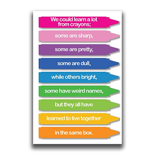 JSC385 We Could Learn A Lot from Crayons Classroom Poster | 18-Inches by 12-Inches | Premium 100lb Gloss Poster Paper