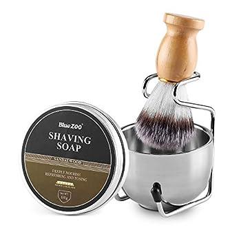 Aethland Mens Shaving Brush Set Include 100g Shaving Soap Soft Hair Shaving Brush Stand Stainless Steel with Bowl Kit for Men Gift Set