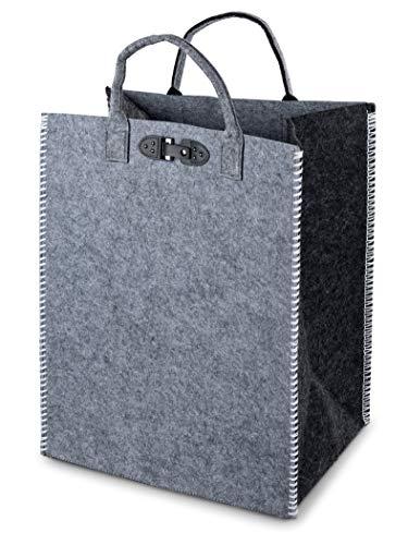 Lifestyle & More Praktische Shopping-Bag Tasche aus Filz-Stoff Einkaufstasche mit Henkel und Deko Knopf vielseitige Tragetasche 44x34x54 cm (Schwarz)
