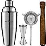 cosy tossy Cocktail Shakers Muddler Strainer and Peg Measurer 30 and 60ml Glass (Silver) -4 Pieces Set