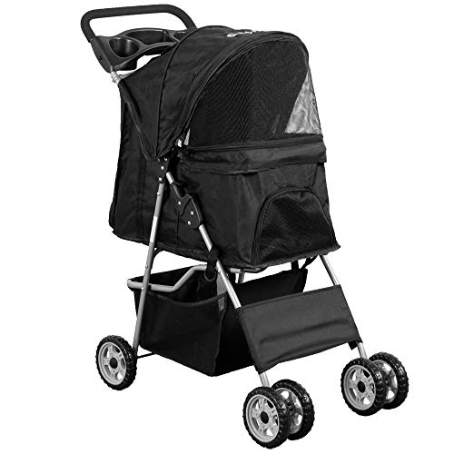 VIVO Black 4 Wheel Pet Stroller for Cat, Dog and More, Foldable Carrier Strolling Cart, STROLR-V001K