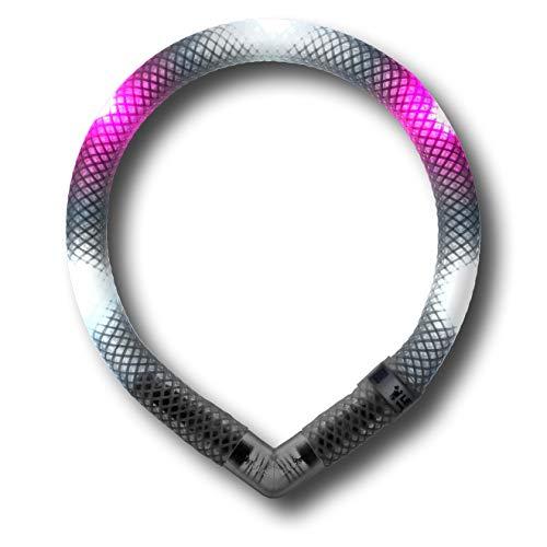 LEUCHTIE® Leuchthalsband Mini weiß-hotpink Größe 32,5 I zweifarbig Bicolor I LED Halsband extra für kleine Hunde I wasserdicht I enorm hell