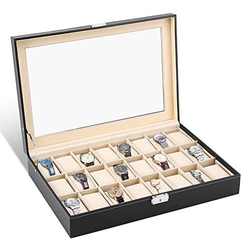 Caja para Relojes con 24 Compartimentos, Estuche Relojes Cuero Soporte de Exhibici¨®n de Joyero con Cerradura y Tapa de Cristal, 43¡Á29¡Á8.5cm