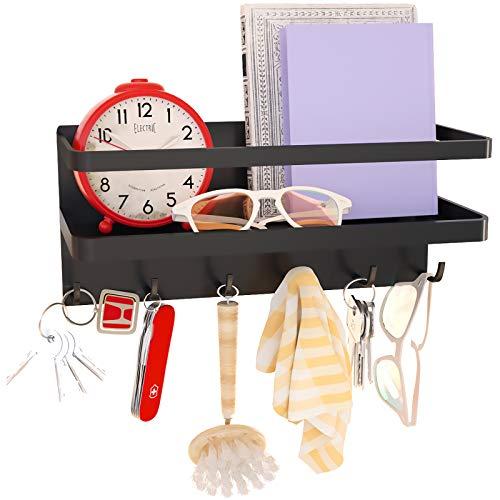6 Hooks Magnetic Key Racks with Tray,Magnetic Key Hooks,Magnetic Shelf for Keys,Letters, Coat Hooks ,Magazines,Coats,Key Holder,Used in Kitchen or Office,Made of Steel (Black, Medium)