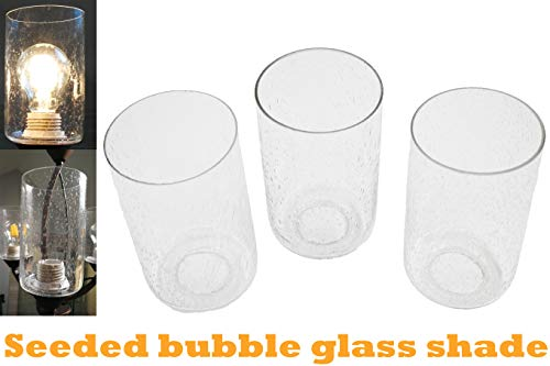 Bubble Seeded Glass Lamp Shade, LEDupdates 3 Packs Clear Cylinder for Light Fixture Glass Replacement