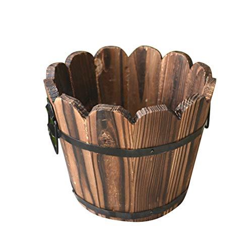 Yardwe Maceteros Madera Bonsai Maceteros Decorativos Interior pequeños Maceta de jardín Planta Contenedor Ola Boca en Forma de Pequeño 12 x 10 x 9 cm (Marrón)