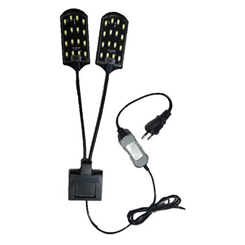 Rouku Hochleistungs-Doppelkopf-Wassergrasbeleuchtung 5730 Bean LED-Clip-On-Klemmlampe für kleines Aquarium Aquarium 15W 220V EU-Stecker