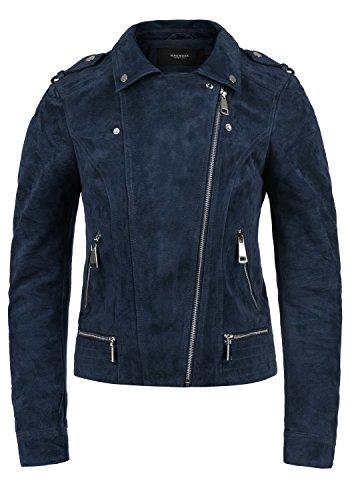 Vero Moda Leda Chaqueta De Cuero Cazadora de Piel para Mujer Piel Real con Cuello Biker, tamaño:L, Color:Navy Blazer