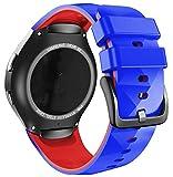 ANBEST Pulsera de Silicona Compatible con Correa Sport Gear S2 para Samsung Gear S2 SM-R720/SM-R730 Smart Watch (no para Gear S2 SM-R732), Grande, Azul Real/Rojo