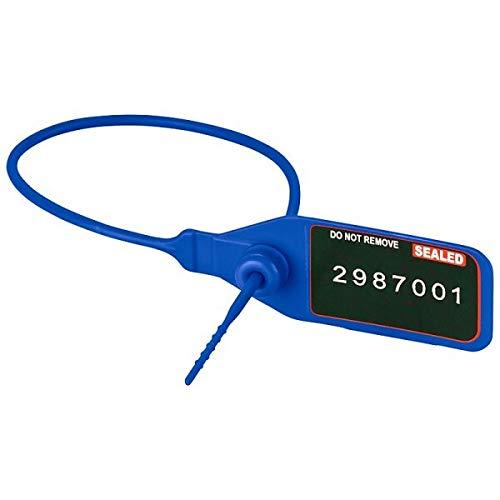 100 Stück Durchziehplomben SEALED fortl blau Nummer Sicherheitsplombe