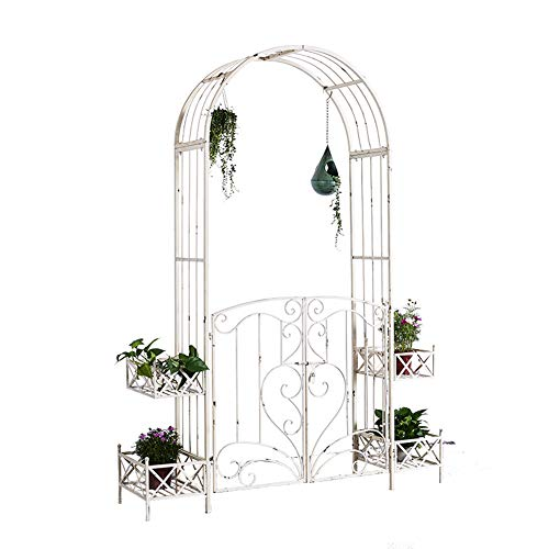 Pillows-RJF Garden Arch,Rose Arch with Planters, Weatherproof, Metal Trellis, Climbers Support, Garden, 222x164x40 cm, White