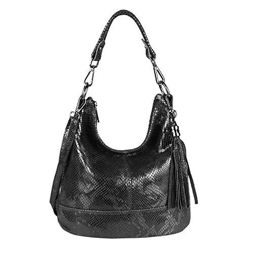 Damen Echtleder Tasche Handtasche Schultertasche City Bag Cross-Over Umhängetasche Henkeltasche Ledertasche Damentasche Schlangen-Prägung Python Muster Fransen Anhänger Schwarz