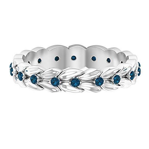 Anillo de boda vintage, anillo de novia floral antiguo, anillo de topacio azul de 1/4 ct, anillo de Londres, anillo de piedra natal de diciembre, 18K Oro blanco, Size:EU 52