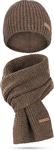 normani Winterset bestehend aus Mütze und Schal mit Schafwolle Farbe Nampa/Braun-meliert