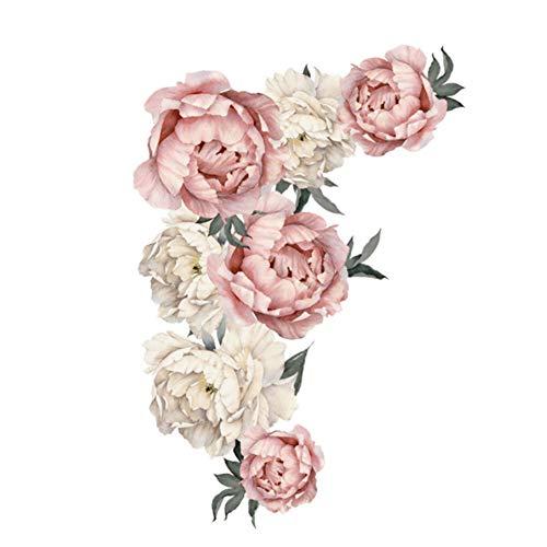 AUNMAS Adesivi Decorativi da Parete Peonia Flower Pattern Stickers murali Carta da Parati Floreale Art Applique Decorazione Camera da Letto Sfondo Adesivo Home Decor