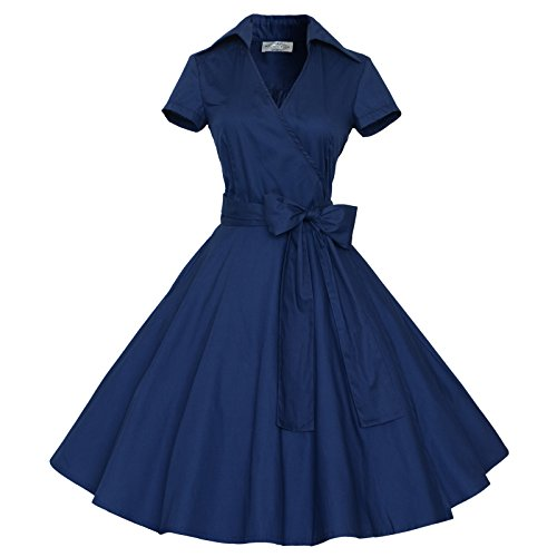 Maggie Tang 50s 60s Vintage Short Sleeves Rockabilly Party Dress Navyblue S