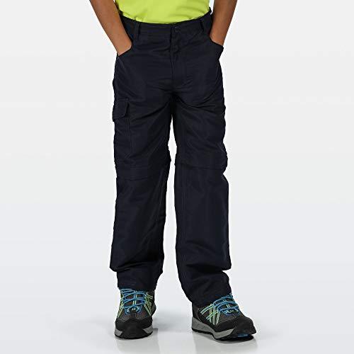 Regatta Pantalon Technique Junior SORCER II léger avec Jambes dézipables, Zones réfléchissantes et Poches Multiples Trousers Mixte Enfant, Navy, FR : 2XL (Taille Fabricant : 11-12)