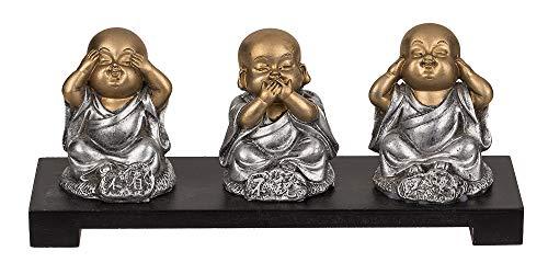 3 Figuras de poliresina en un tazón de Madera, Buda, Aprox. 20 x 9 cm