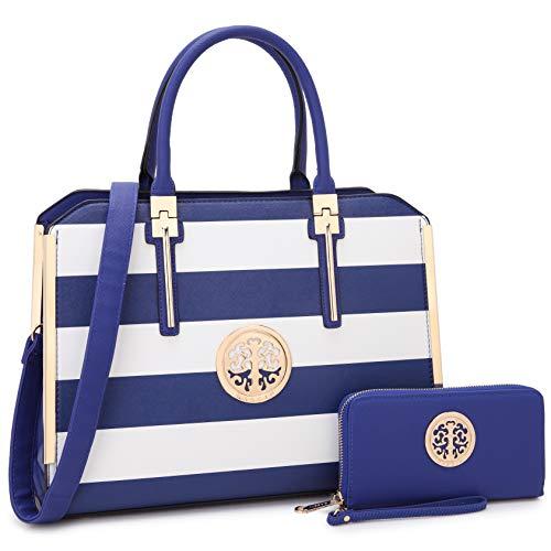 Designer Women Laptop Briefcase, Large Handbag for Lady PU Leather Satchel Lightweight Tote Summer Cross-body Purse (7555-Blue/White)