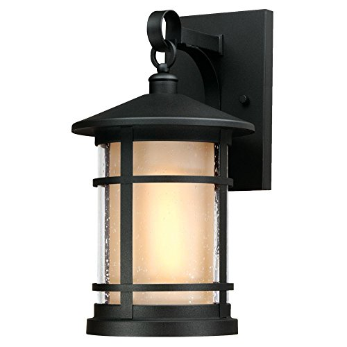 Westinghouse Lighting 6312400 Albright One-Light Outdoor Medium Wall Lantern, Textured Black Finish with Amber Frosted and Clear Seeded Glass