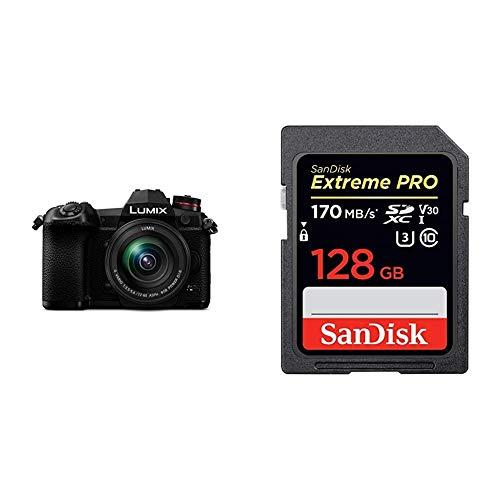 Panasonic Lumix DC-G9MEG-K Systemkamera mit 12-60mm Objektiv (20 MP, 4K/6K, schwarz) & SanDisk Extreme Pro SDXC UHS-I Speicherkarte 128GB (V30, Übertragungsgeschwindigkeit 170 MB/s)