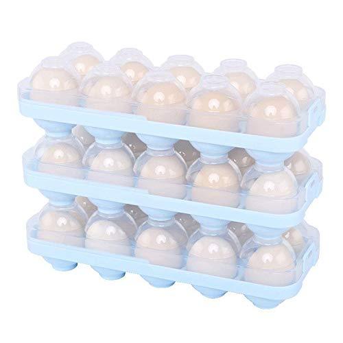 WUHUAROU 3Pcs Eierhalter Kühlschrank Vorratsdose Eierbox KühlSchrank Eier Behälter mit Deckel Multifunktionsbox Transportbox Eierhalter Aufbewahrungsbox für Kühlschrank 10 Eier (bleu)