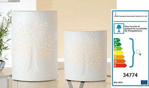 GILDE Porzellan Lampe Ellipse LEBENSBAUM klein oder groß, Größe:Gilde Ellipse Lebensbaum klein