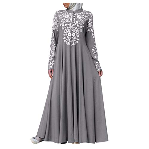 Women Muslim Dresses for Women Kaftan Arab Jilbab Abaya Islamic Lace Stitching Middle Eastern Ethnic Maxi Dress Gray