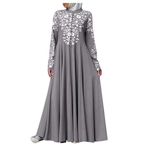 Moslim Jurken voor Vrouwen, Arabische Kaftan Lange Abaya Maxi Jurk, Dames Lange Mouw Vintage Print Knop Islamitische Dameskleding