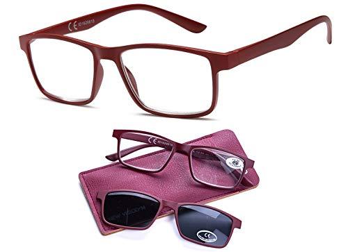 NEWVISION®,Occhiali da Lettura Vista a Occhiali Da Sole con Lenti Scure Clip-On Sovrapponibili - Protezione 100% UVA e UVB,Lenti Polarizzate per Occhiali Uomo e Donna,NV8126(+2.00, rosso)