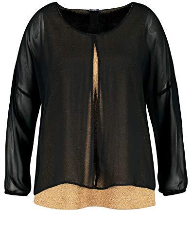 Samoon Damen Festliches Blusenshirt mit Glitzer-Effekt leger Black Gemustert 46