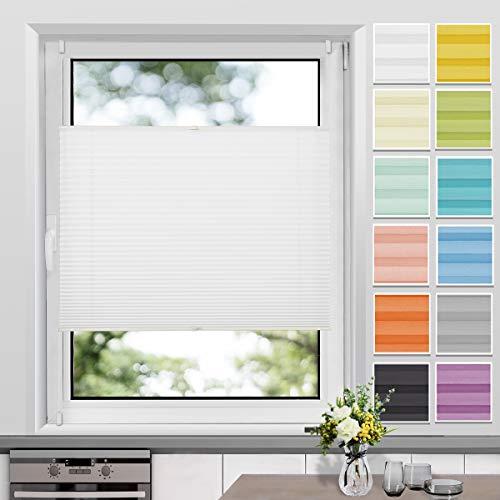 Plissee Klemmfix ohne Bohren, Weiß 35 x 130 cm (BxH), Faltrollo Plisseerollo mit Klemmträger, Jalousie Rollos für Fenster und Tür, Sichtschutz und Sonnenschutz