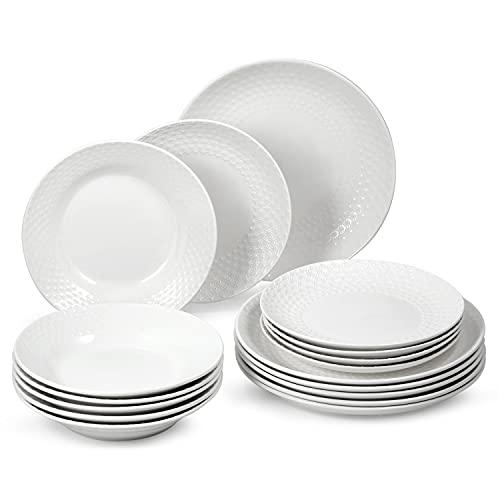 suntun Juegos de Platos Vajillas de Porcelana 18 piezas, Blanca Vajillas Completas Modernas con 6 Platos de Sopa, 6 Platos de Cena y 6 Platos de Postre Diseño Clásico en Relieve para 6 Personas