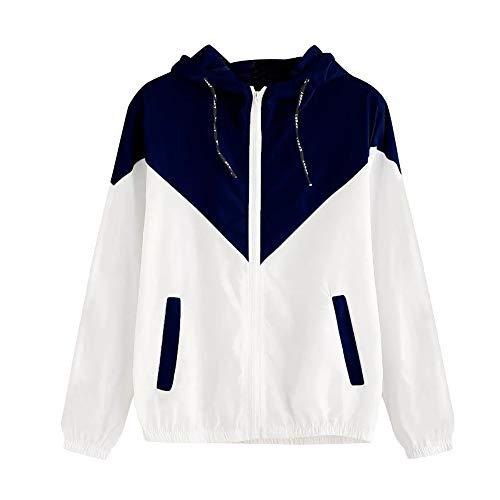 OUICE Sweats à Capuche Femme Zippé Patchwork Classique Mode Port avec Poches Parka Chic Cool Street Fashion Sweat Mode Grande Taille Manteau S-4XL
