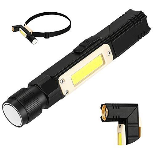 BestFire Linterna LED Linterna táctica con COB Sidelight Linterna recargable USB con diadema Linterna impermeable con clip para camping, senderismo, rotación de 90 grados