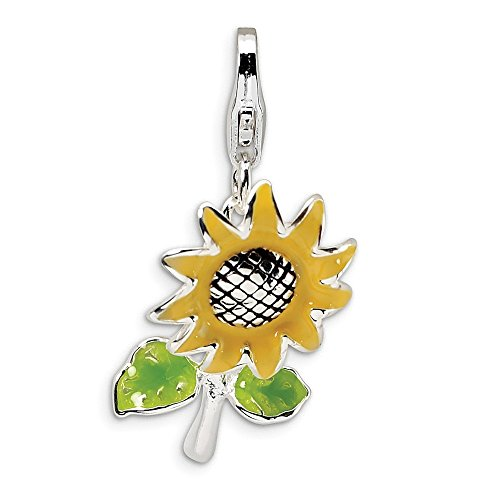 Diamond2Deal donna 925 sterling Silver 3-D smaltato girasole W catenaccio ciondolo