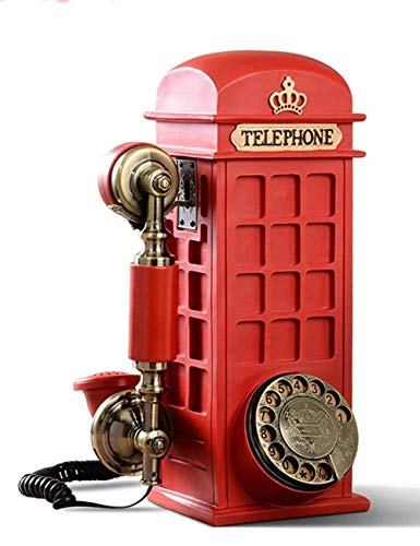 FHISD Cabina de teléfono Grande/Cabina de teléfono Recuerdo de Londres Caja de Dinero Recuerdo del Banco Teléfono Fijo Retro Moda Personalidad Creativa Hogar con Cable Vintage Teléfonos fijos an